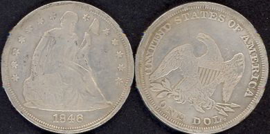 **REPLICA**1846 Seated Liberty Silver Dollar