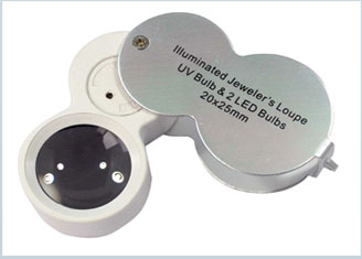 Dual Illuminated (LED and UV) 20x Power, 25mm Jeweler's Loupe