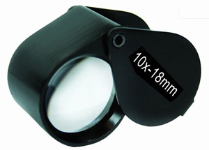 (10x18mm) Black Plated Jeweler's Loupe