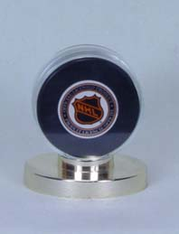 Collector Safe Hockey Puck Holder w/Gold Base