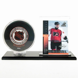 Black Acrylic Base Hockey Puck & Card Holder