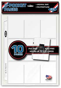 9 Pocket trading card 3-Ring Binder Protective Pages (10 Ct. Pack)