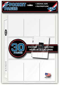 9 Pocket trading card 3-Ring Binder Protective Pages (30 Ct. Pack)